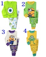 1 set retail,brand new boys minions cartoon pajama sets children pyjamas suits for 2-7 years kids pijamas 2pcs clothing set