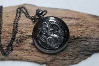 Hollow out black dragon pocket watch , charm watch , unique gift