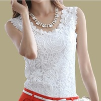 [A++] NEW Summer Top Lace blouse 2014 Casual Sleeveless Plus Size Shirts For Women Spaghetti Strap Vest Black White Halter Top