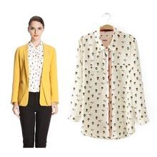 2014 summer new women's lapel nine balloons pattern printing sleeve fashion shirt (EC9135)(China (Mainland))