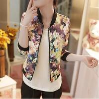 2014 Fashion Stand Collar Long Sleeve Zipper Floral Print Women Streetwear Style Short Jacket Coat Outerwear/M-XL/Free shipping