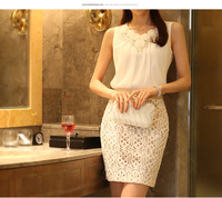 2014 Sleeveless Vest Spaghetti Strap Chiffon Sequined Neck Tops For Female Women S -XXL 6070214