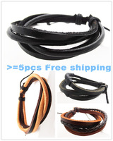 Fashion Men and Women Multilayer Leather Wrap Braided Black Bracelets Bangles Gift Girl Female ((no shipping cost for 5PCS ))