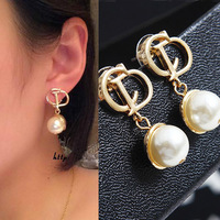 2014 earrings elegant glossy cd d letter big pearl fashion HOT earring
