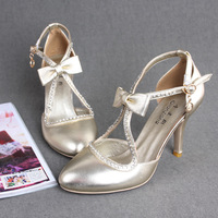Handmade gold sheepskin genuine leather bow sexy ladies the banquet high-heeled wedding shoes single shoes pumps
