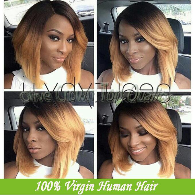 Brazilian Vigin Human Hair Honey Blonde Ombre U Part Wig Short Bob Two ...