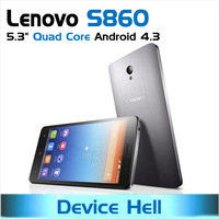 original lenovo s860 phone mtk6582 android 4.3 metal cover 4000mah big battery , with original case , in stock free shipping