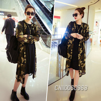 New Promotion Vogue Women Lady Long Sleeve Open Camouflage Army Print Chiffon Casual Slim Fit Jacket Blouse Cardigan Size S 1442