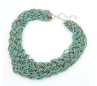 Free Shipping Bohemian Colorful Bead Necklaces & Pendants Choker Necklace 2014 New Fashion Women Jewelry