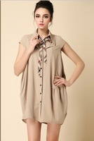women summer spring 2014 fashion new style vintage package hip slim women's casual dress London checked Fabric