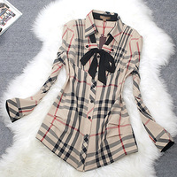 New 2014 women summer fashion designer tops turn down collar Plaid slim fit long sleeve formal body office female shirts blouse