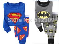 2 pcs set baby boy girl kids sleepwear suits cartoon Superman Batman Retail Children 100% cotton long sleeve pajamas sets 2 -7 Y
