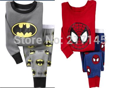 2014 Free Shipping 2pcs Spiderman Batman Tshirt Top Pants Pajamas Sleepwear Sets Suits For Baby Boy Kids Children Infants 2-7Y(China (Mainland))