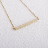 2014Fashion 18k Gold silver plated Square Bar Necklace Pendant Necklace for women gift Free Shipping Wholesale