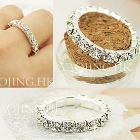 Min.order is $10 (mix order) Free Shipping 2014 Korean Bright Silver Plated Elastic Imitation Diamond Rings Wholesale R83(China (Mainland))