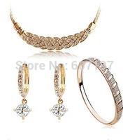 3set jewelry KC gold plating Rhinestone jewelry Parure necklace bracelet  zircon earrings Conventions life golden silver