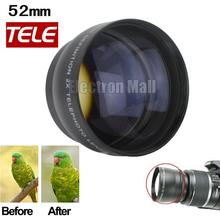New Arrival!! 52mm 2x Telephoto Lens for Canon Fuji Pentax Olympus Nikon D80 D90 D3100 D5100 D5200 D7000 D7100 18-55mm Kit,(China (Mainland))