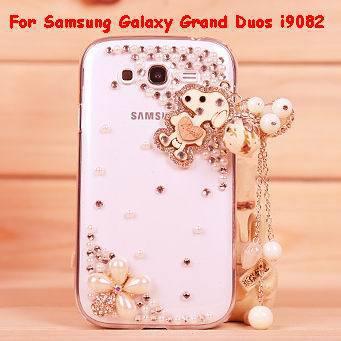 Free shipping 1pcs 100% Handmade 3D Love Rabbit Dog Tassel Pendant Pearl Diamond Case Cover For Samsung Galaxy Grand Duos i9082(China (Mainland))