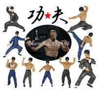 Chinese kung fu star Bruce Lee model action figure H8cm set (9pcs/set)