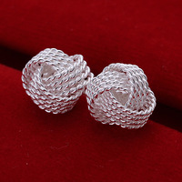 CLE050 / Knot Stud Earring Silver 925 Plated Free Shipping