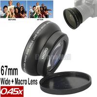 NEW Arrival 67mm 0.45x Macro + Wide Angle Lens for Canon 450D 500D 550D 600D 1100D 60D 70D 6D 7D 18-135mm Kit, Free Shipping!!