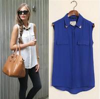 2014 new hot women new summer leisure wild female models big yards chiffon shirt m096
