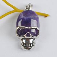 Amethyst Stone Bead Skull Pendant Jewelry Free shipping S1240