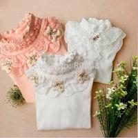 Hot sale size 110-140 teen Girl lace t shirt cotton soft  long sleeve  fashion T-Shirts