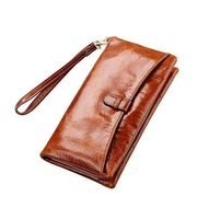 """Free Shipping! High Quality Women Top Genuine Leather Bifold Purse Wallet Lady 7"""" Long Handbag with Wrist Strip #002, 5 Colors"""