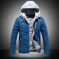 free shipping men faux two peice jacket, men hooded jacket, men cotton padded paka, plaid linning men casual jacket,L0679