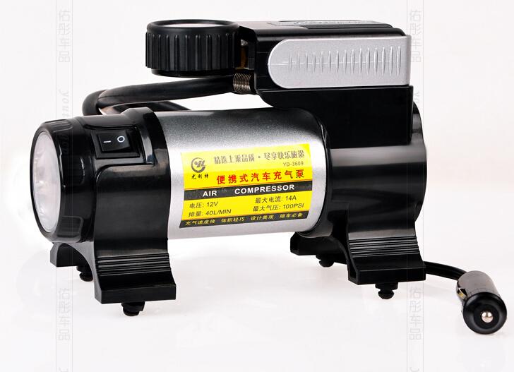 UNIT 3609 Vehicle air pump with LED lamp Pump for automobile Car Air Pump Car Pumps Car Air Compressor 12V 150W free shipping(China (Mainland))