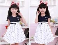 2014 summer princess girl's fashion dress navy  dress 3~13 age teenage child clothes navy girl dress