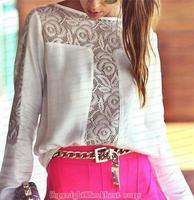 Best quality!!! Blouses 2014 summer women new fashion shirts casual chiffon patchwork lace slash neck long sleeve
