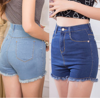 Lanluu Top Quality Fashion 2014 High Waist Tassel Casual Slim Women Elastic Denim Shorts for Summer  SQ326