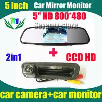 "5"" car monitor mirror HD 800*480 car parking backup camera for Ford focus 2 focus 3  2012 2013"