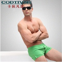 Free shipping High quality 100% cotton cartoon men's Boxer / men underwear (3colours) swimming trunks