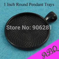 25mm  Round  Black Pendant Blank Tray, 1 Inch Round Glass Cabochon Bezel Setting