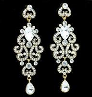 Hot 1pair Retro Vintage Alloy Women Antique Gold Platinum Plated Long Water Drop Bohemian Pierced Earrings ( ILOVE DDFJDE9001)