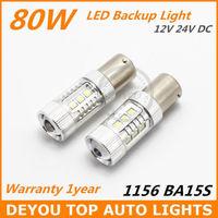 New arrive 2x Xenon White SEOUL 80W  BA15S 1156 LED Backup Reverse Turn Light Bulb 7506 P21W S25Free shipping