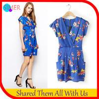 Summer Dress 2014 New Fashion Women's Print Blue Tunic Casual Mini Dress Sleeveless V-Neck Dresses Free shipping