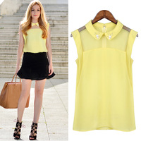 peter pan collar sleeveless chiffon shirt solid color loose all-match air conditioning shirt