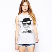 2014 New Fashion, Summer Women T Shirt, Richcoco Heisenberg Head Portrait Print O-neck Slim Short-sleeve Round Neck T-shirt