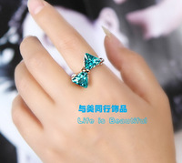Crystal bow ring sweet cute ring