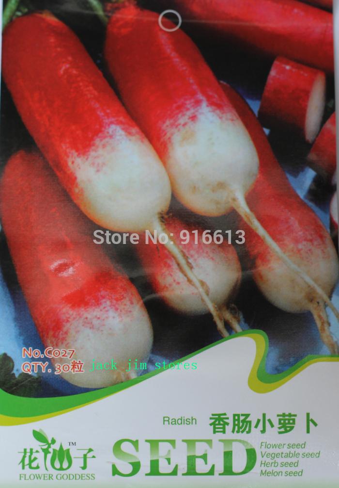 Radish Seeds Growth Free Shipping 1 Pack 30 Seeds Red Sausage Radish s