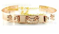 Female Belts Women 2014 Full Metal Gold Plate Belt With Chain Designer Bowknot Belt Woman Belts For Dress Wide Ceinture Women