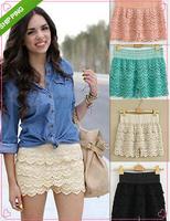 4 Colors 5 Sizes 2014 Summer Stylish Shorts Woman Sweet Style Lace Crochet Hollow Elastic Waist Slim Short Pants Drop Shipping