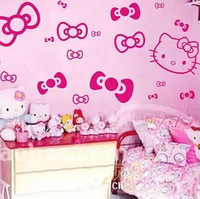 free shipping Hello Kitty Wall Stickers Kid Room Decor/Cartoon Hello Kitty for Home Bedroom Wall Stickers for Kids Rooms