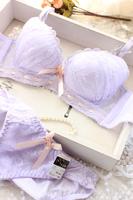 2014 NEW Sexy noble lace gauze light purple and yellow Underwear sets comfortable soft bra push up Belt women Bra sets