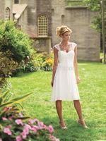 2014 Elegant Chiffn Cap Sleeves Sweetheart A-line Beach Tea- length Wedding Dresses Bridal Dresses zipper Custom Made SB019