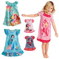 2014 new princess minne mouse baby girls cartoon print dress 100% cotton 90-120cm kids dresses free shipping 1pcs retail AQZ004
